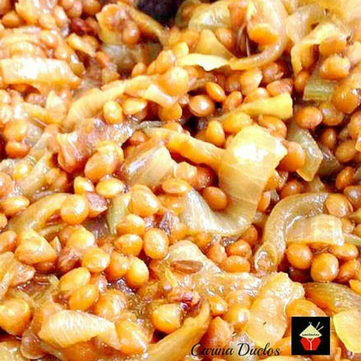 Caramelized Onions and Lentils. A wonderful side dish goes perfect with a crockpot dinner, or some nice chicken or pork chops, or a roast turkey dinner too! Really tasty and very easy to make. No messing or fussing!