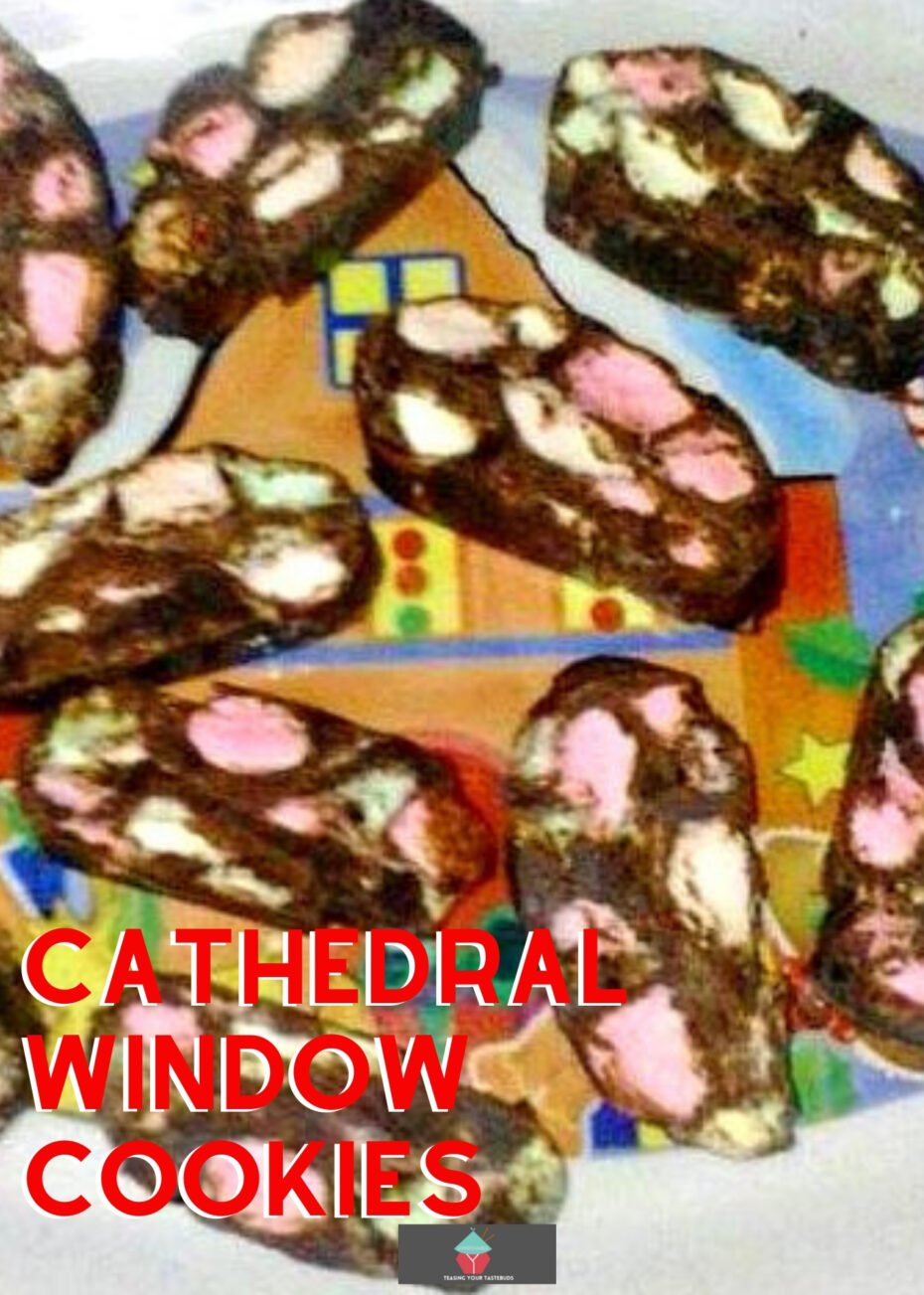 Cathedral Window Cookies are classic American cookies that look like stained glass windows. These no-bake cookies are a combinaton of chocolate and marshmallows and are perfect for your cookie tray.