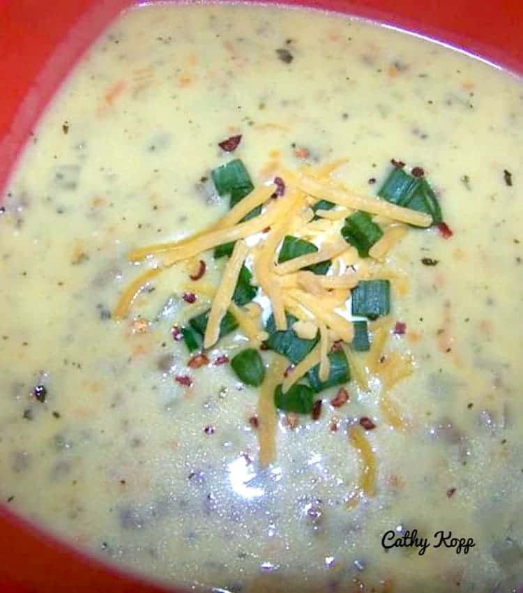 Cheesy Burger Soup. This is a very easy recipe with fantastic favors and will certainly fill your tummy!
