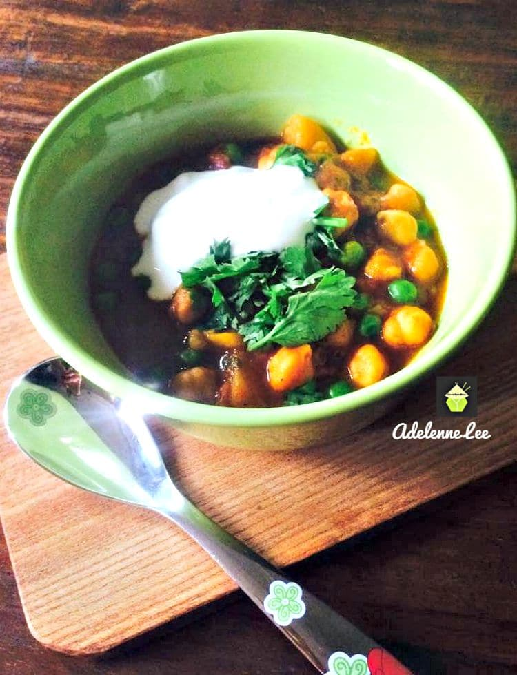 Chickpeas and Potato Curry, a quick and easy meal, great served as a main or side dish.