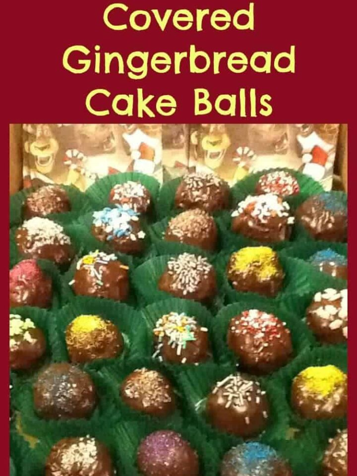 Chocolate Covered Gingerbread Cake Balls. A great, festive treat. Decorate with your favorite chocolate and sprinkles, and have your young ones help too!