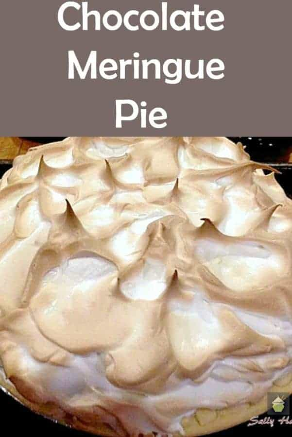 Chocolate Meringue Pie, an easy recipe with a delicious chocolate filling and topped with meringue.