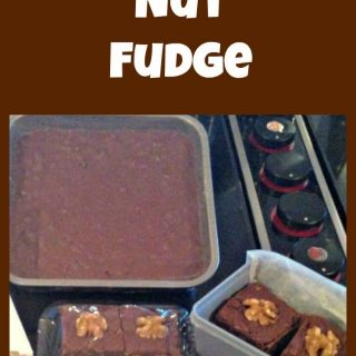Nanny's Chocolate Nut Fudge. A tried and true family recipe and great for gifts! Use a cookie cutter to make pretty shapes too!