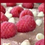 Chocolate Raspberry Cheesecake. This is a lovely No Bake dessert with raspberries filled (yes filled!) with white chocolate drops and also throughout the filling. the combination is so yummy! Easy recipe and great for making ahead too!