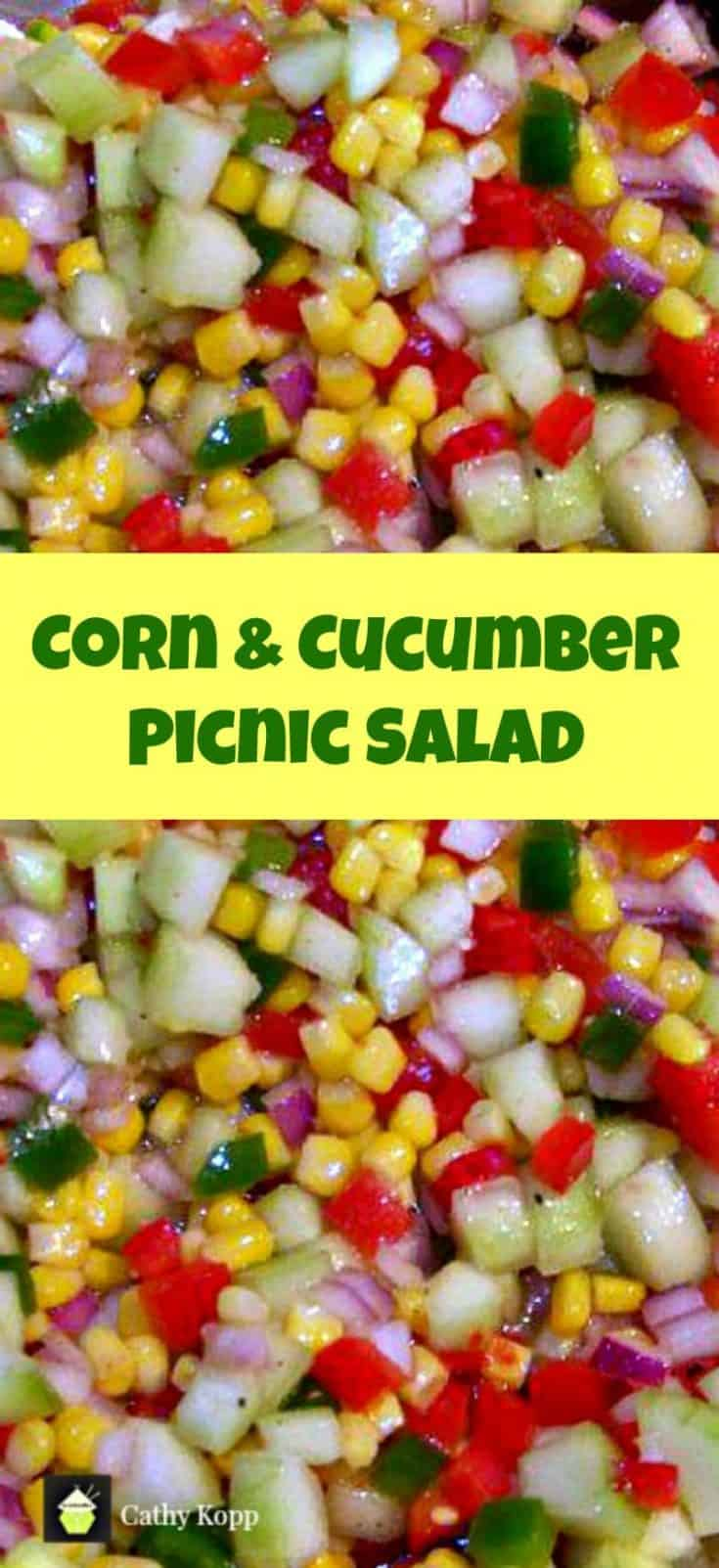Corn and Cucumber Picnic Salad. A very simple yet great tasting salad and perfect for the holidays!