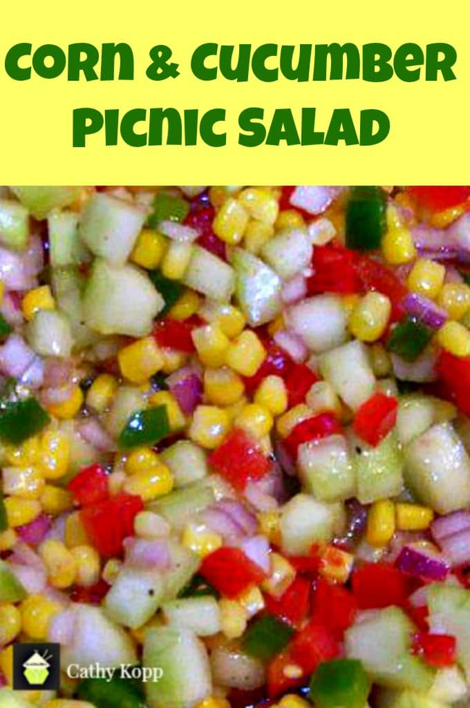 Corn & Cucumber Picnic Salad. A very simple yet great tasting salad and perfect for the holidays! | Lovefoodies.com