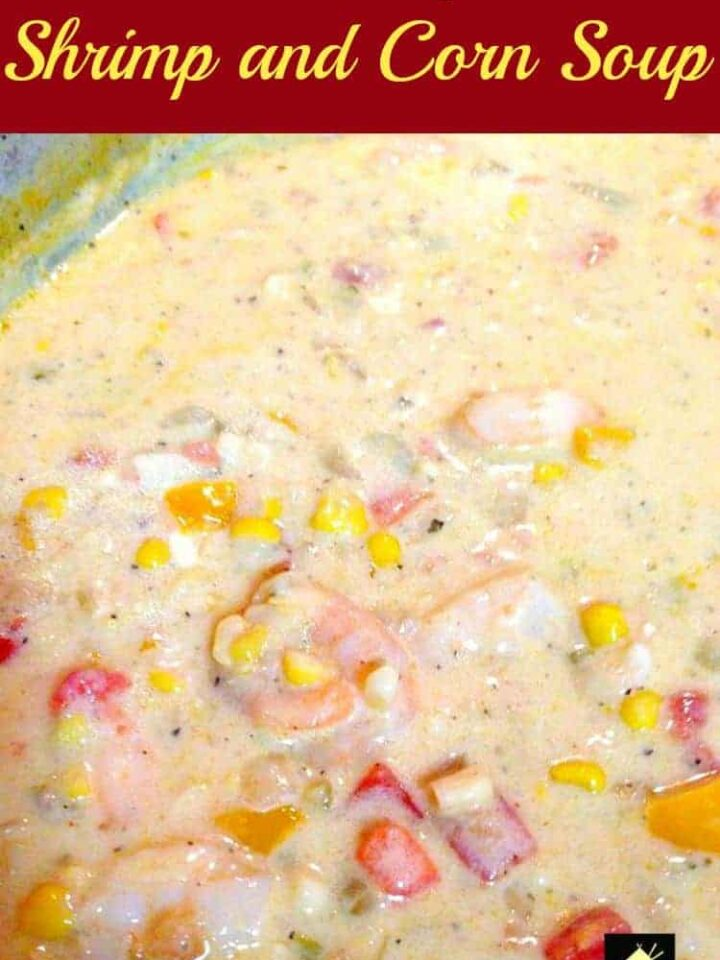 Creamy Shrimp and Corn Soup. This is a full flavored soup using delicious ingredients. Serve with some warm crusty bread!