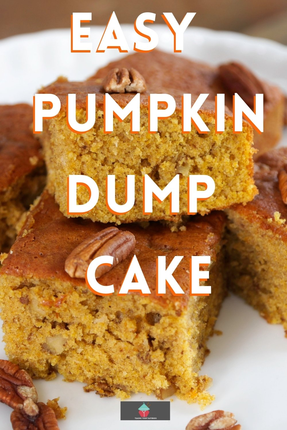 Easy Breezy Pumpkin Dump Cake, an easy soft, moist cake recipe, regular and lite versions available. Simply mix, dump and bake to get a delicious Fall cake!