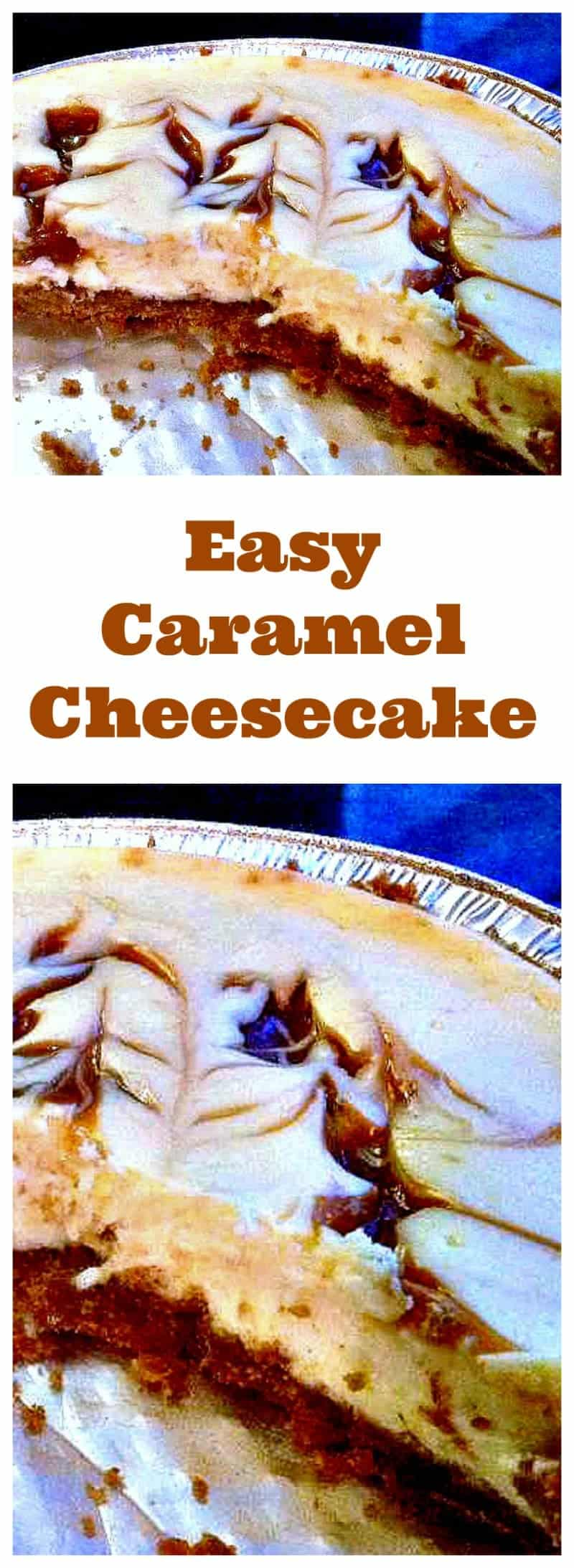 Caramel Cheesecake.Oh yummy! A wonderful baked Vanilla Cheesecake with ripples of caramel though out. Easy recipe and always a hit!