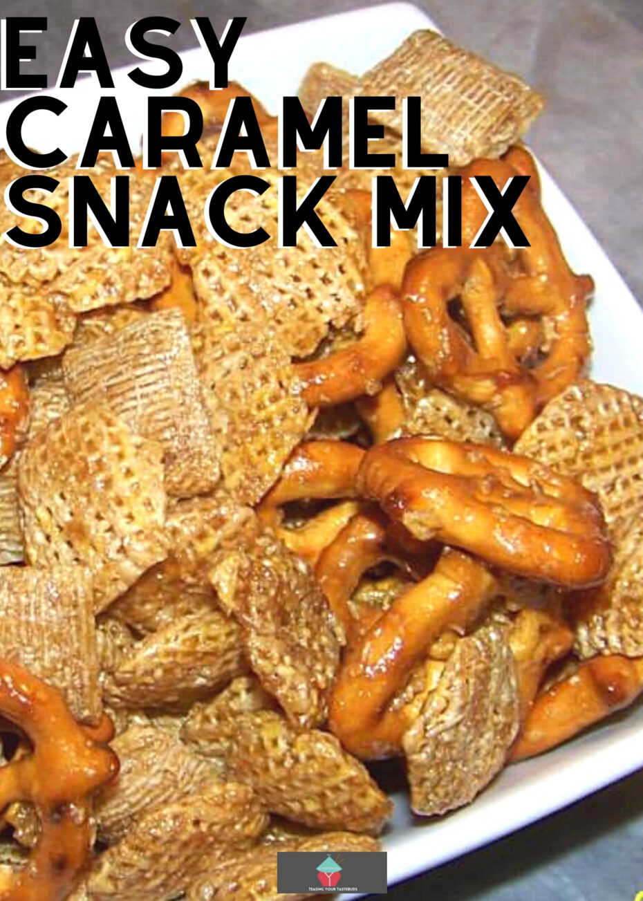 Easy Caramel Snack Mix, a variety of cereals, dried fruits and nuts, coated in delicious caramel then baked until perfectly golden. Great for parties, gift packages and holidays! Freezer friendly and stores well.