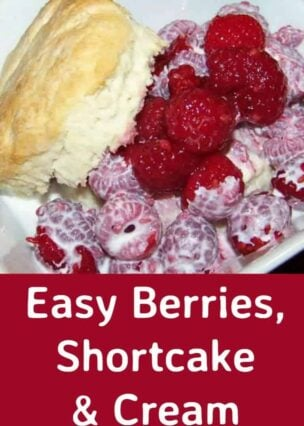 Easy Berries, Shortcake and Cream. This is a lovely, very easy recipe and freezer friendly so you can make this up very quickly. Choose your favorite berries and enjoy!