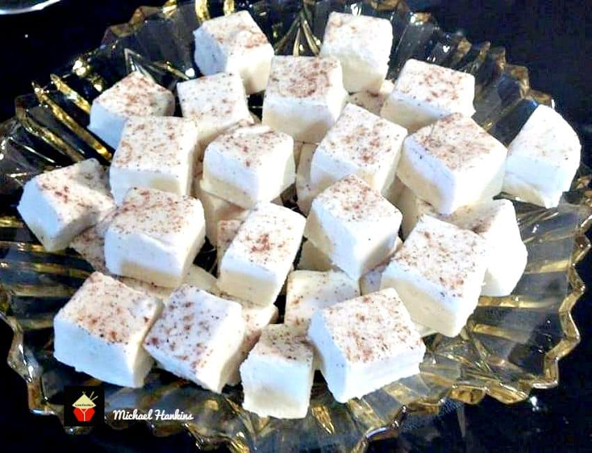 Eggnog and White Chocolate Fudge recipe, delicious creamy fudge pieces flavored with eggnog and white chocolate are great treats for your families and also make super gifts for Christmas.