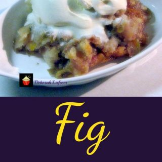 Fig Cobbler. When Figs are in season you simply have to make a cobbler! This is a delicious recipe and lovely served warm or chilled with some ice cream or a blob of whipped cream!