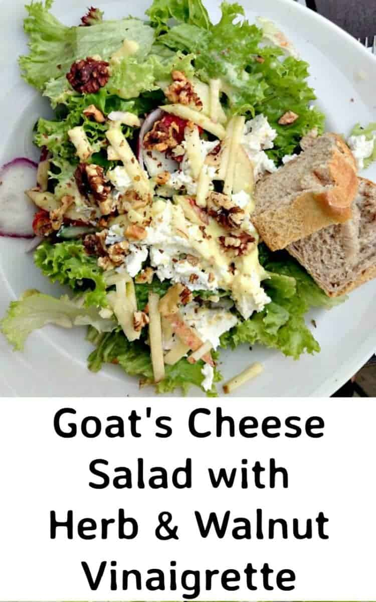 Goat's Cheese Salad with warm Herb and Walnut Vinaigrette is a wonderful fresh tasting salad and easy to make. Delicious served with some warm bread fresh from the oven too!