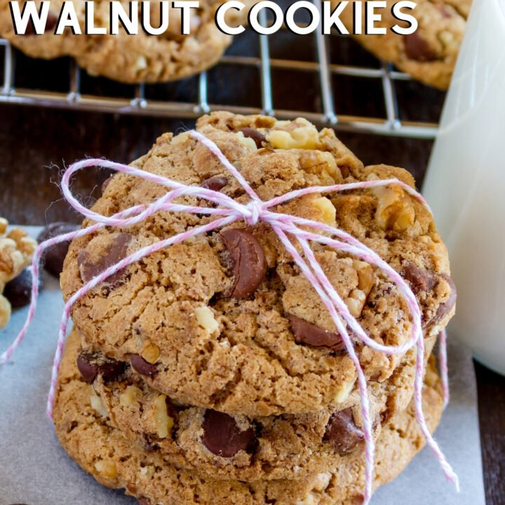 Grandma's Crunchy Chocolate Chip and Walnut Cookies recipe is easy to make, and great for gifts. Loaded with chocolate and nuts, and perfect for the holidays