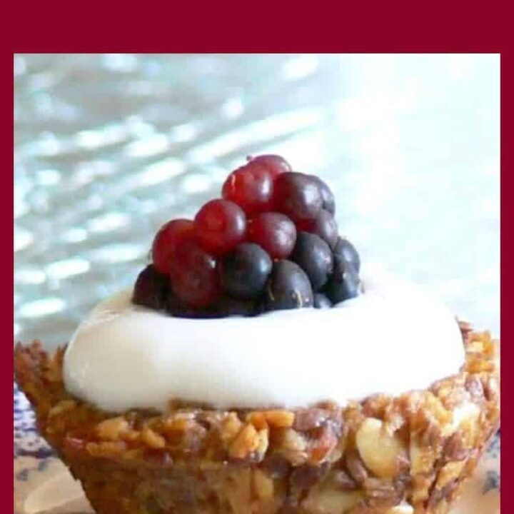 Easy Healthy Granola Cups. A great little treat, perfect for breakfast, dessert or a tea party! Fill with your favorite yogurt and berries. Yummy!
