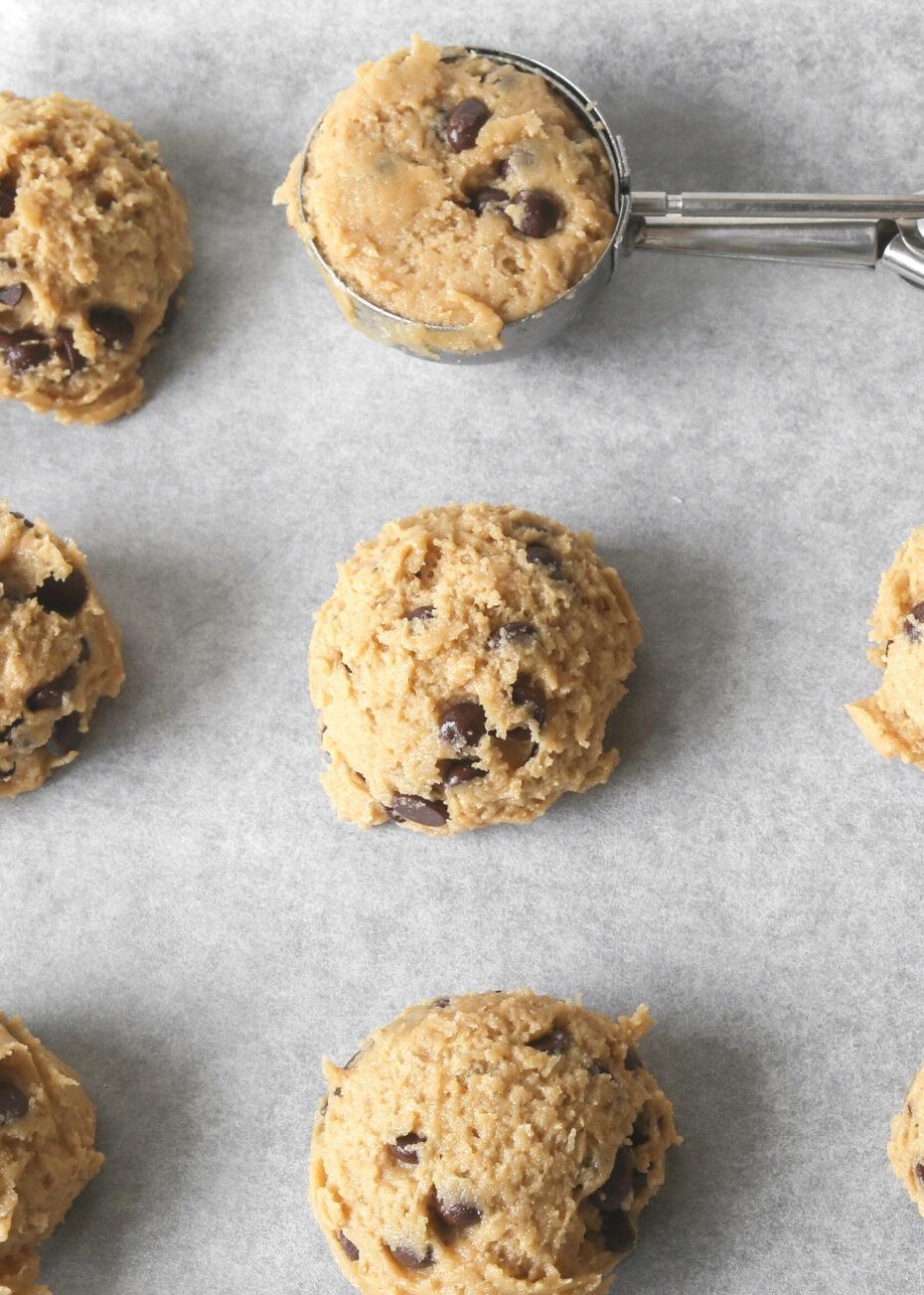 Joy Cookies, cookie dough on baking sheet