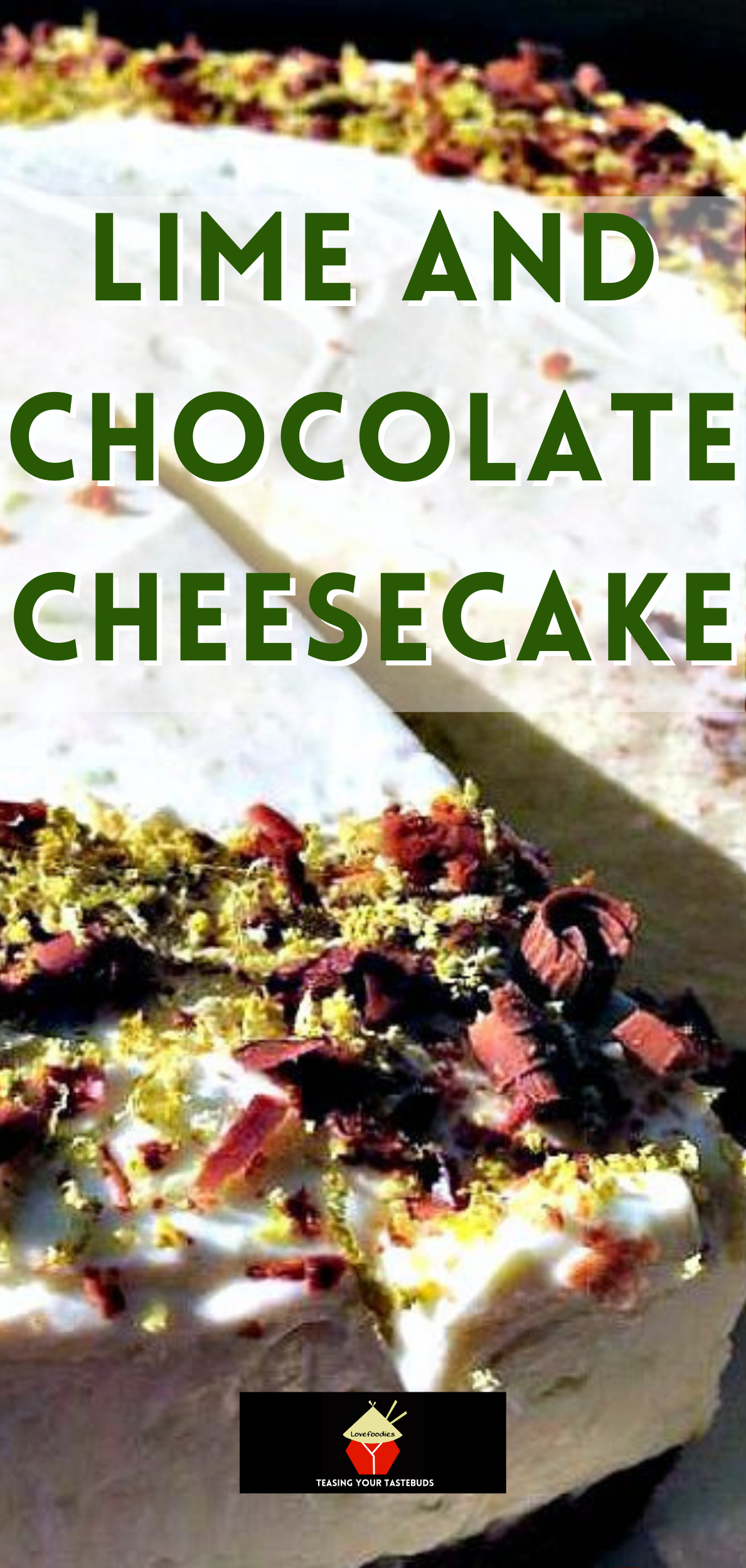 Lime and Chocolate Cheesecake. An easy No-Bake Cheesecake with zingy lime and chocolate running throughout a creamy cheesecake filling on a chocolate base. Delicious!