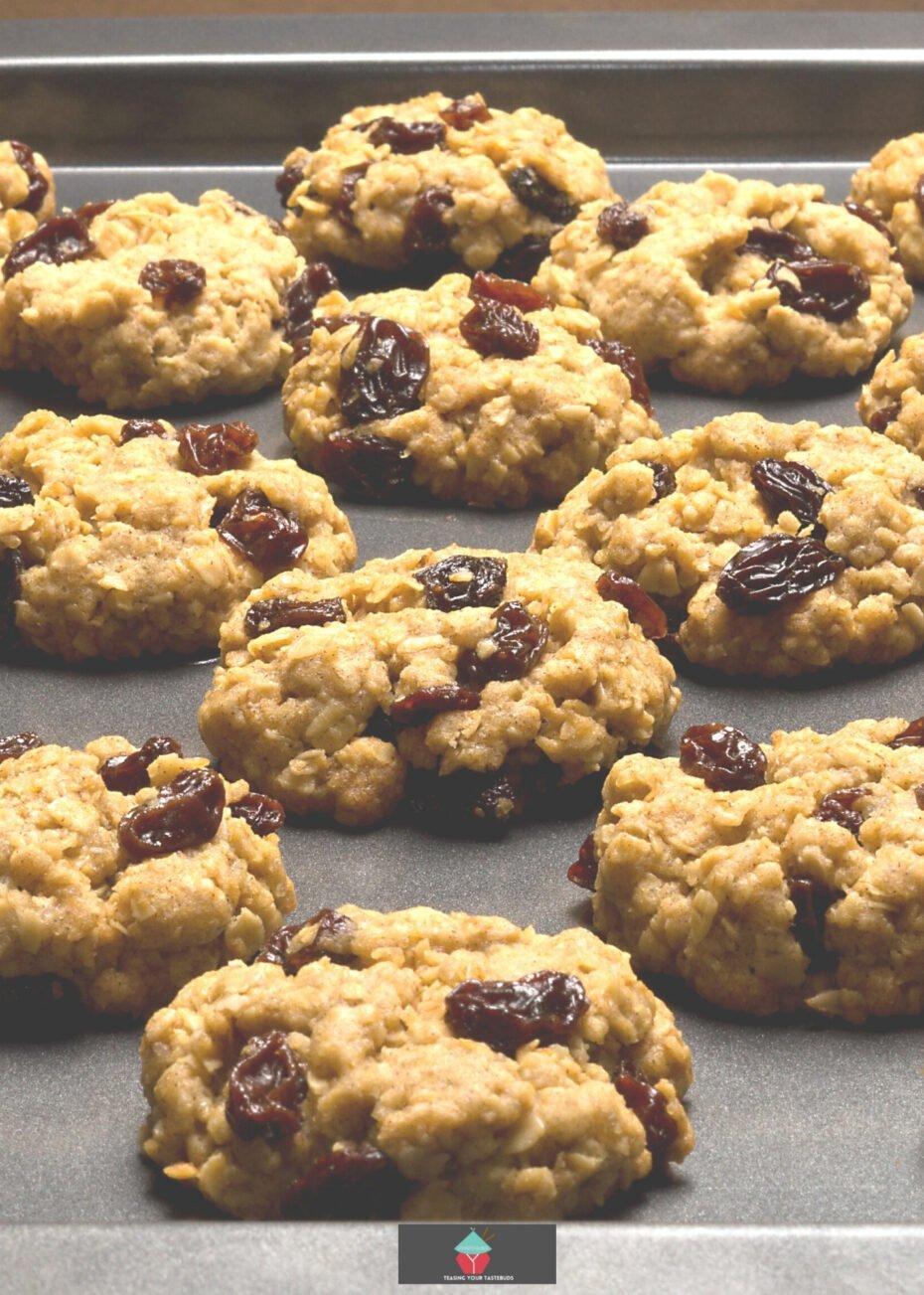 Oatmeal Raisin Cookies, on baking sheet