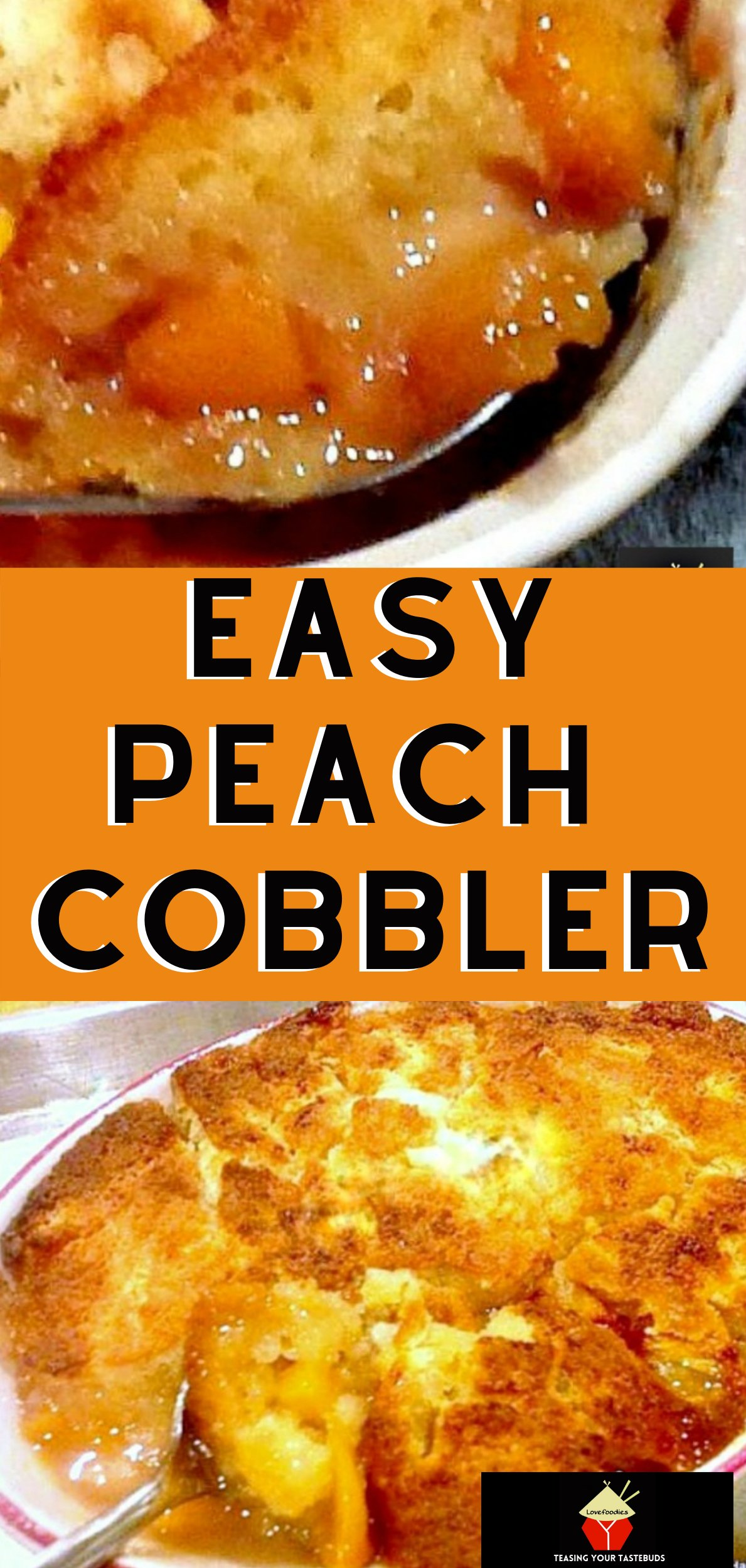Peach Cobbler. This works fantastic with any of your favorite fruits! A really pleasing dessert best served warm with a blob of your favorite ice cream
