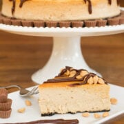 Peanut Butter Brownie Cheesecake, a popular baked cheesecake with a brownie base and peanut butter filling. Perfect for chocolate lovers and great for parties and celebrations.