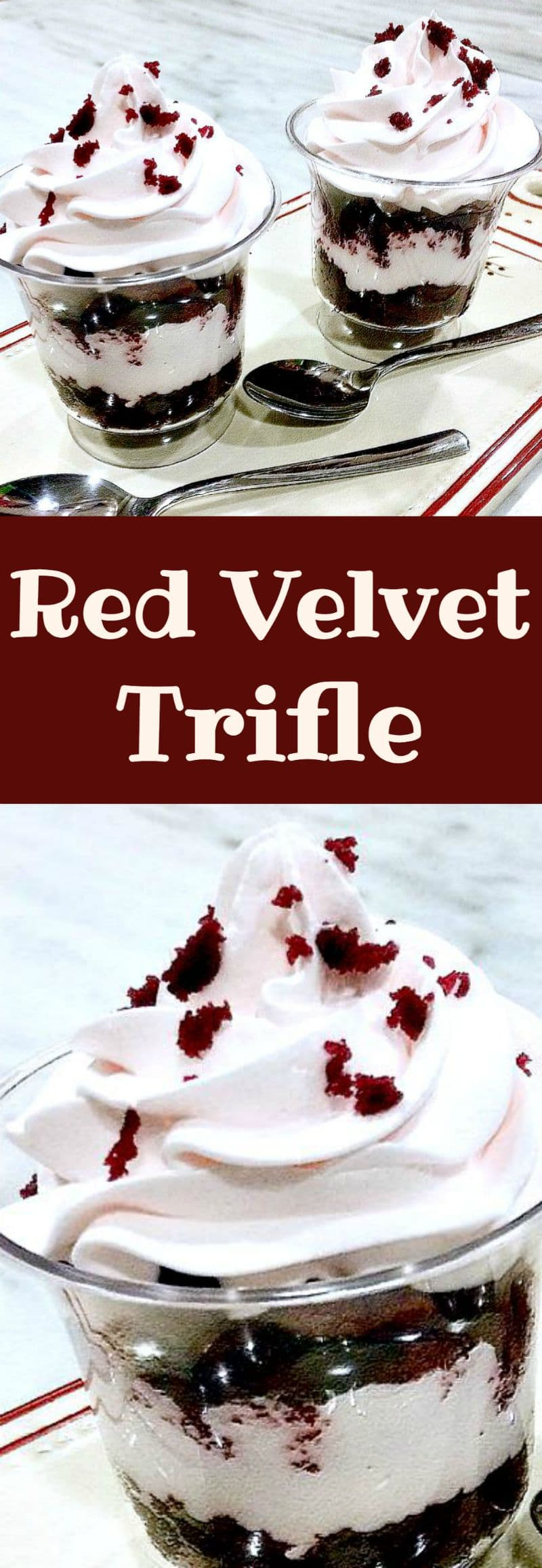 Red Velvet Trifle This is a delicious easy recipe. Serve in glasses or a large trifle bowl. Always a popular dessert!