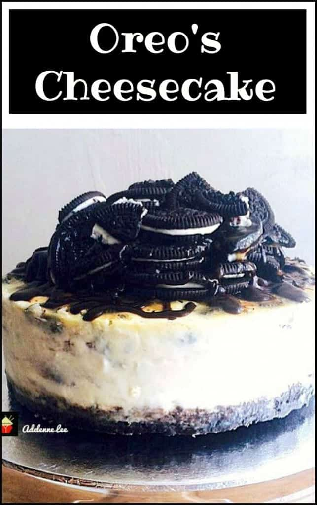 Oreo's Cheesecake. What a JAW DROPPER! A creamy Oreo's filling  drizzled with Chocolate Ganache and Caramel. Perfect for a celebration!