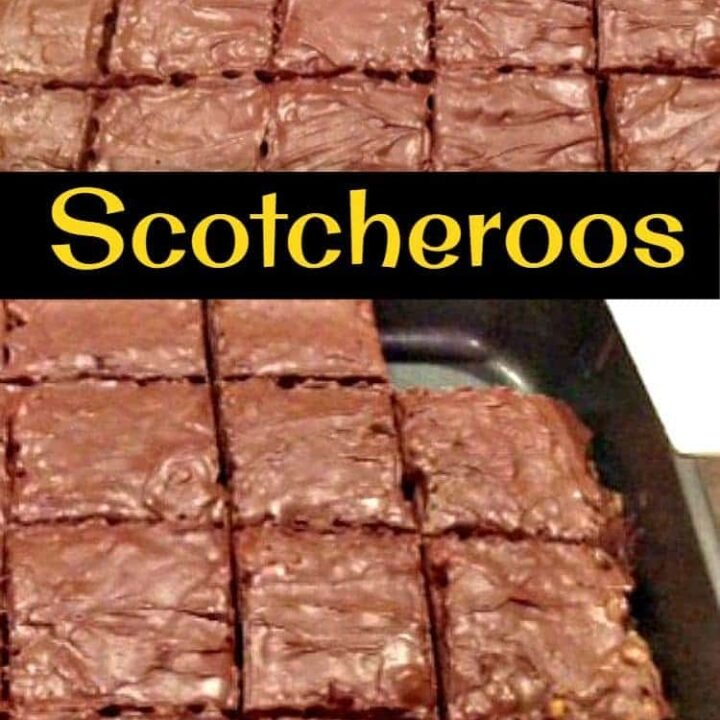 Scotcheroos, an easy no-bake cereal bar similar to rice krispie treats. Peanut butter, chocolate & butterscotch with a chocolate butterscotch topping. A chewy, soft, and crispy treat