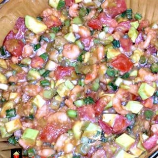 Shrimp Salsa. a wonderful quick recipe with avocado, tomato and other goodies. great for parties, game days and pot lucks too!