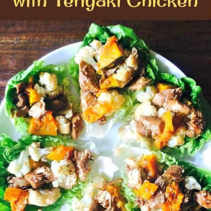 Teriyaki Chicken and Spiced Cauliflower. A lovely recipe using teriyaki chicken, baked, spiced cauliflower, and pumpkin served in lettuce wraps. Recipe for teriyaki sauce included in the recipe.