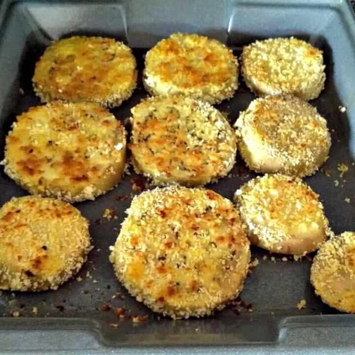 Tasty Baked Eggplant. Slices of eggplant, coated in golden breadcrumbs. No frying and great flavor and crunch from the golden breadcrumbs. Delicious with your favorite dipping sauce.