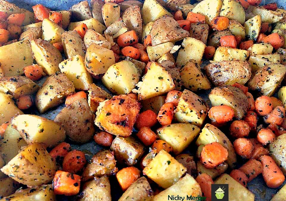 Spiced - Oven Baked Potatoes Baby Carrots. A popular family recipe and very flexible with the flavors and ingredients.