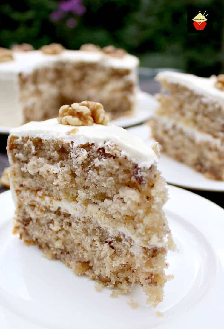 Walnut Cake is a delicious easy recipe. the cake is so soft and fluffy! Recipe also for a lovely vanilla frosting. You can make this a s a round cake or a loaf, instructions for both. Freezer friendly too!