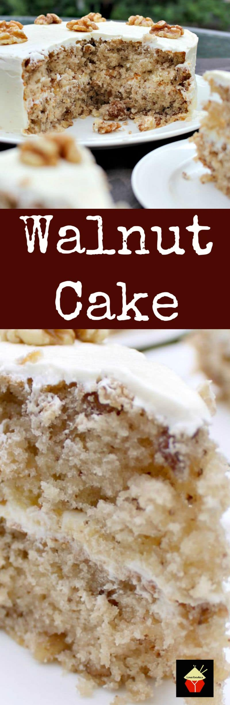 Walnut Cake is a delicious easy recipe. the cake is so soft and fluffy! Recipe also for a lovely vanilla frosting. You can make this as a round cake or a loaf, instructions for both. Freezer friendly too. This would also make a nice cake for the holidays!