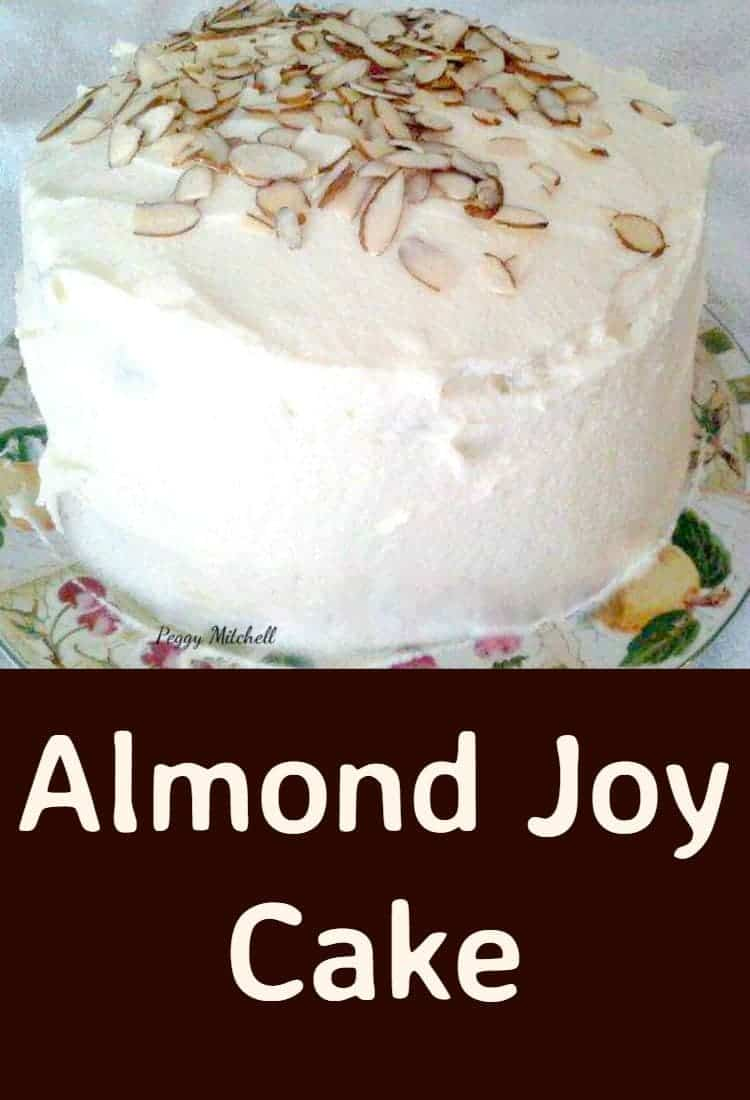 Almond Joy Cake. A delicious chocolate cake with almond and a coconut frosting. Always a hit and so popular!