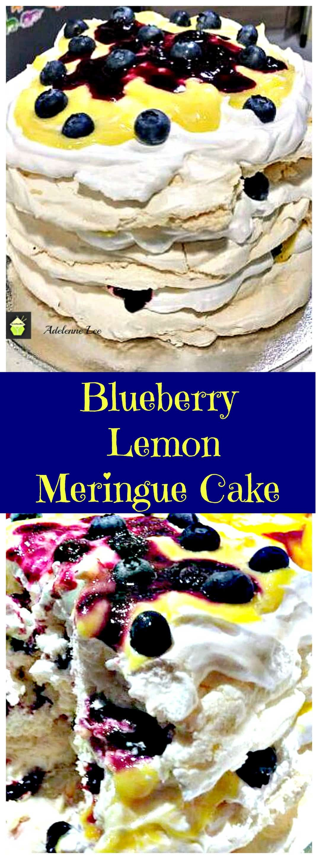 Blueberry & Lemon Meringue Cake. A wonderful chilled dessert perfect for a party!