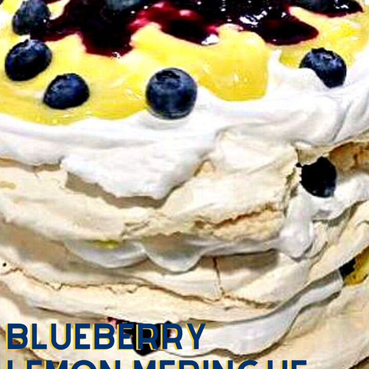 Blueberry Lemon Meringue Cake. Blueberry lemon meringue cake is made up of delicious layers of meringue, fresh whipped cream, blueberry compote and a drizzle of lemon curd. A perfect summer dessert.