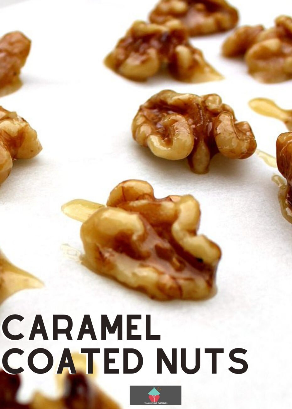 Caramel Coated Nuts! These nuts are absolutely delicious on their own as a snack, or you can use them in cakes, desserts, apple pies, the sky's the limit! Easy to make and flexible for you to choose your favorite nuts.