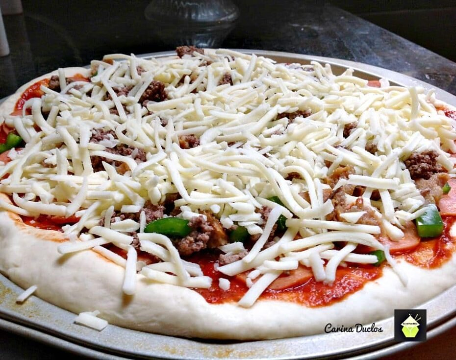 Monster Pizza! Once you've tried the dough recipe you won't use any other! It is awesome!