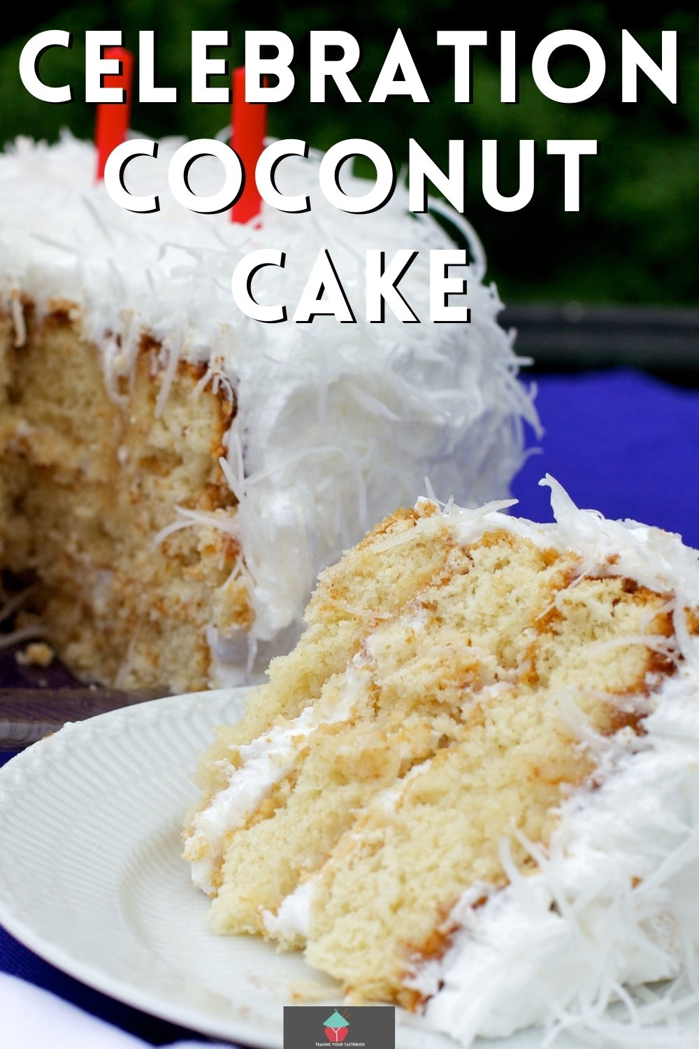 Celebration Coconut Cake. Perfect for a celebration, this coconut cake is made up of layers of soft coconut cake sandwiched between lemon curd then frosted with a light and airy coconut frosting.