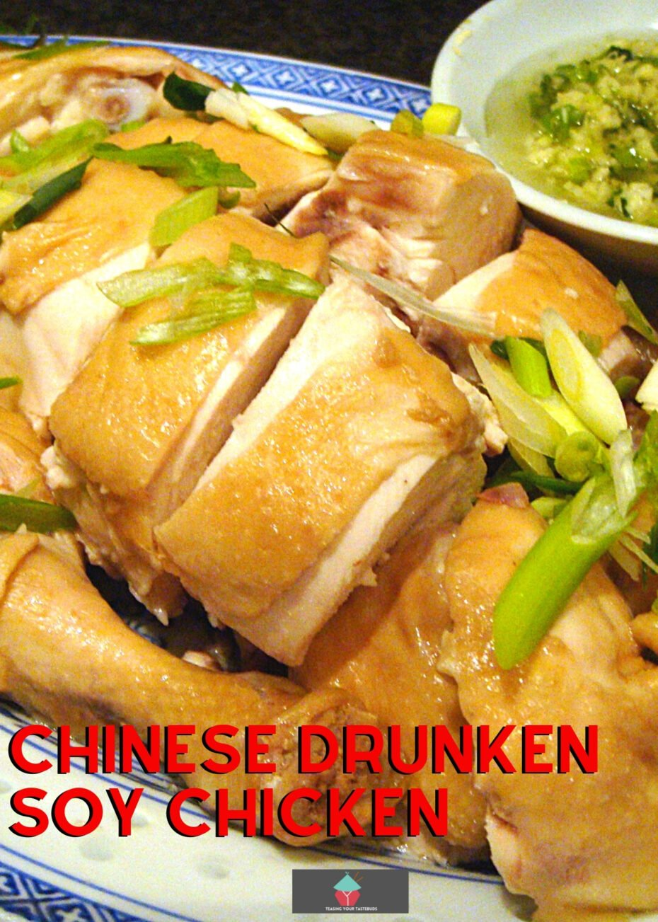 Chinese Drunken Soy Chicken is a lovely recipe, cooked in a rice wine and soy broth, keeping it juicy and full of flavor. Also recipe for ginger & scallion dipping sauce.