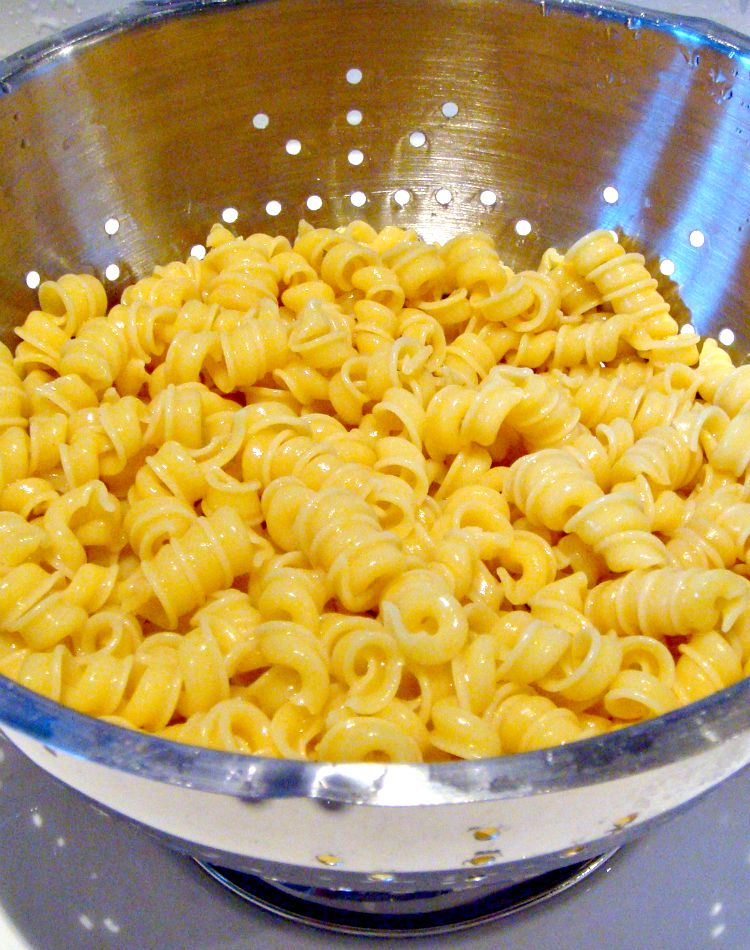 Pasta cooked and drained