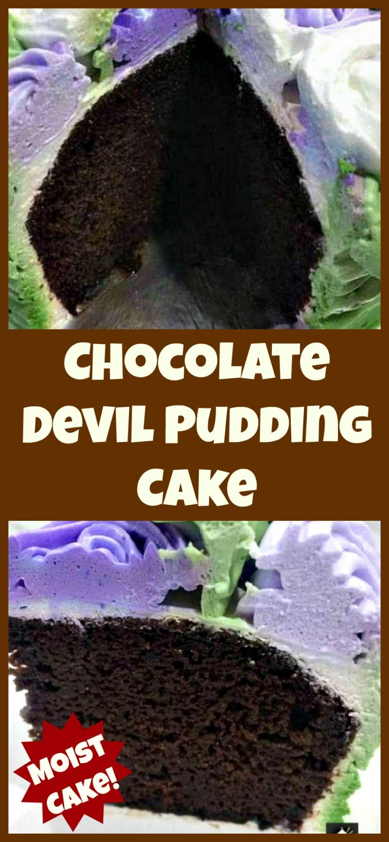 Chocolate Devil Pudding Cake. A super easy and soft, moist cake perfect for chocolate lovers . Also recipe for a delicious whipped cream frosting too!