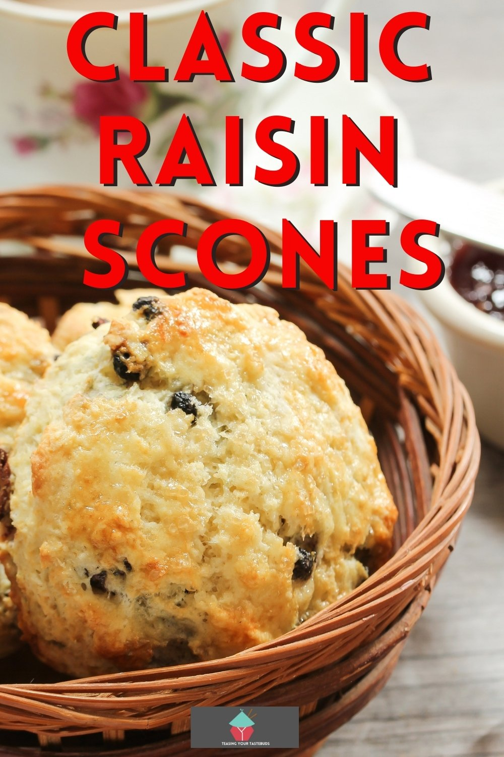 Classic raisin scones, perfect served with an afternoon tea. Eat with butter, clotted cream, and jam. Easy recipe to give you fluffy, well-risen moist scones.