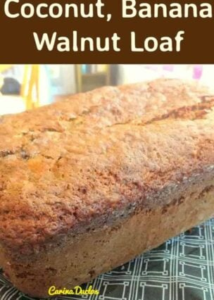 Coconut, Banana Walnut Loaf is a really nice recipe! The cake has a lovely soft and moist texture and loaded with flavor of banana and coconut. The added walnuts gives an extra dimension to the cake and so delicious! Easy recipe and freezer friendly too!