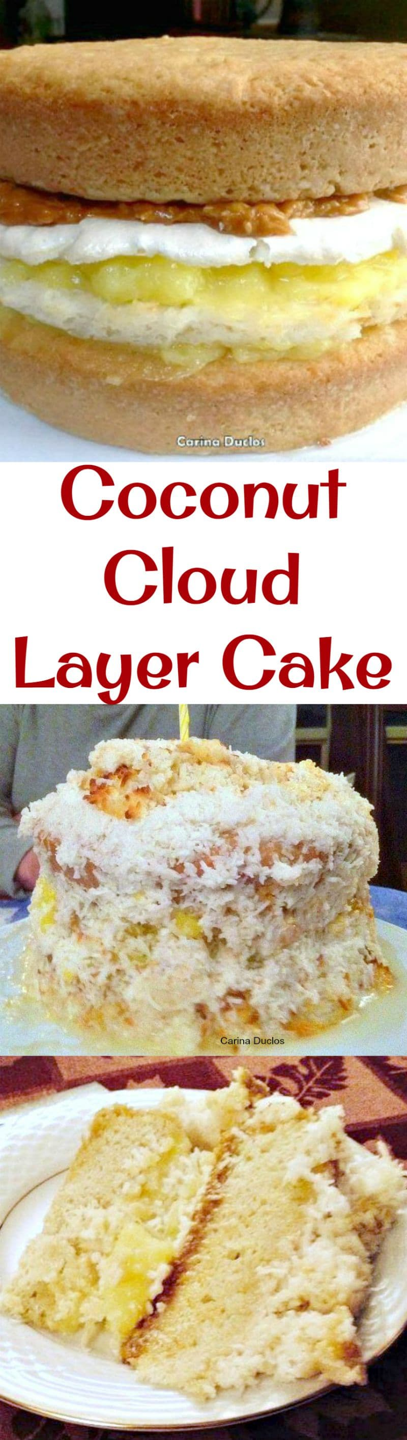 Coconut Cloud Layer Cake. Layers of cake, meringue,macaroons, lemon, dulce de leche and coconut makes this cake fit for a celebration that's for sure! This does take some work, but for a special occasion and if you're looking for something a little different from your average celebration cake, this is the one which will turn heads!