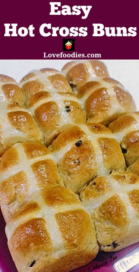 Hot Cross Buns are a lovely soft, spiced sweet roll, and traditionally made at Easter time, simply split apart and spread with butter and jam. They're lovely eaten warm from the oven or split and toasted. Nowadays, these are enjoyed all year round! Very easy to make and freezer friendly.