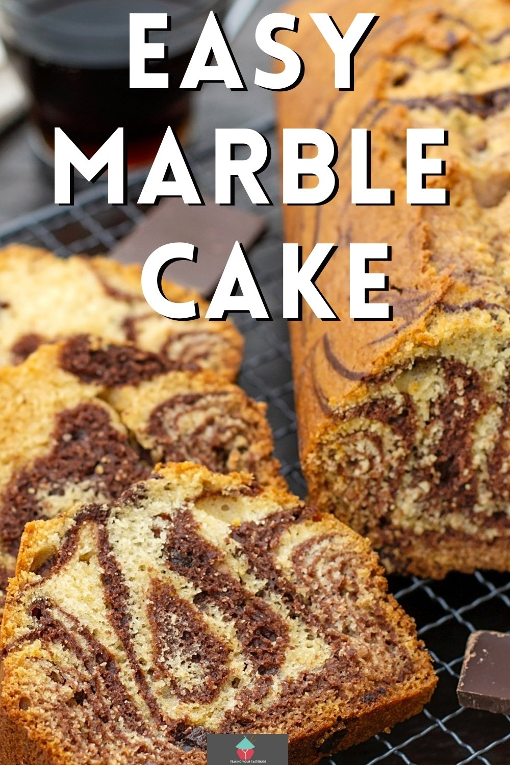 Easy Marble Cake, made of vanilla and chocolate cake batter, swirled together for a marbled effect and baked to give you a lovely soft texture, rich in flavor. Plus a recipe for chocolate mousse frosting. Delicious!