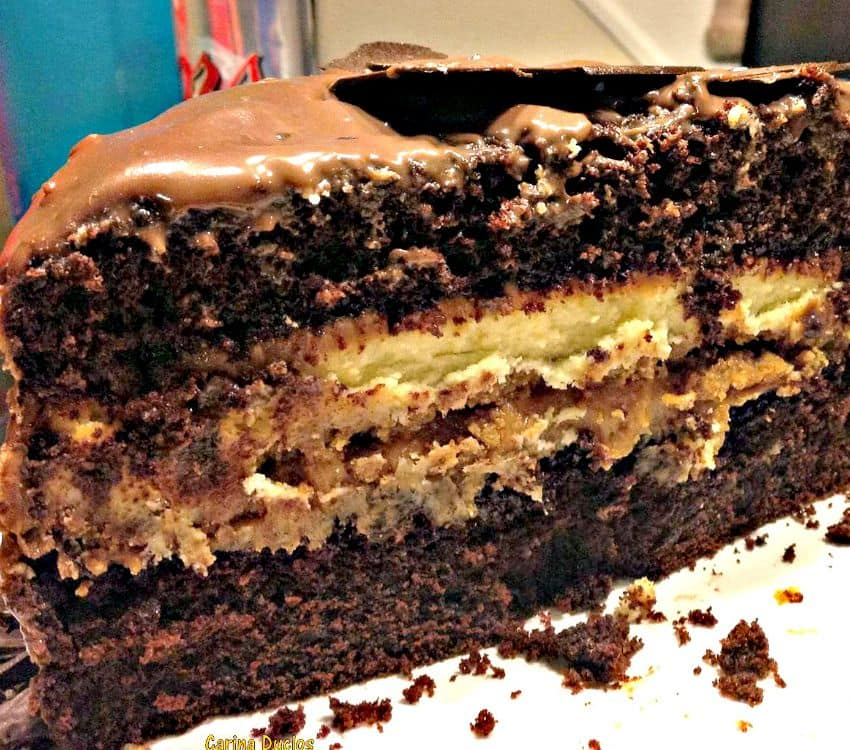 Heavenly chocolate cake, layers of soft chocolate cake, cheesecake, chocolate ganache, caramel, topped with truffles,made from scratch and perfect for a celebration