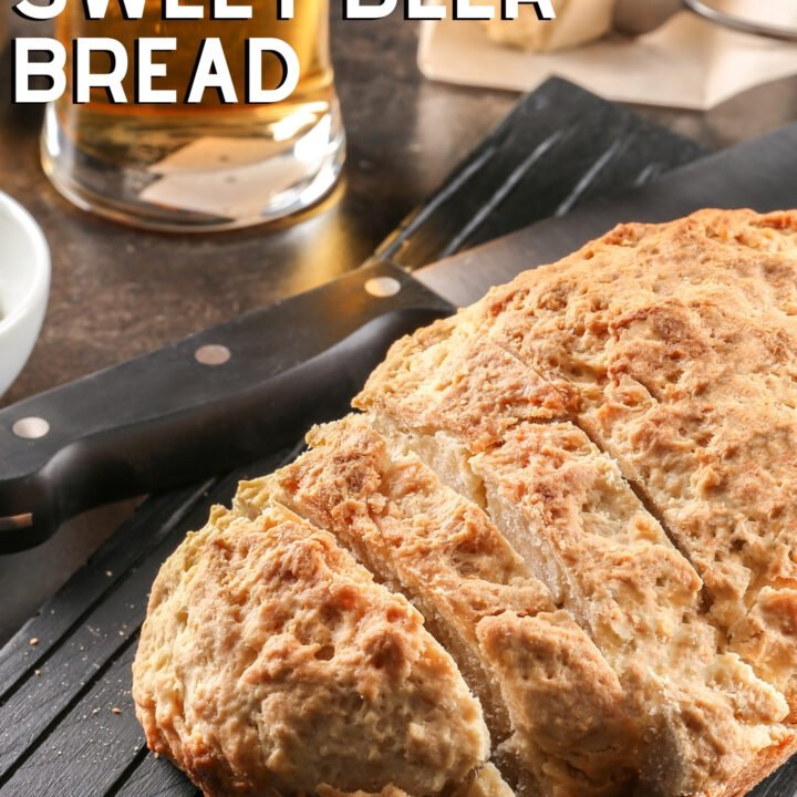 Homemade Sweet Beer Bread, very easy recipe using just 4 ingredients, soft, slightly sweet bread, ideal with soups, dips, or simply a spread of butter on a slice.